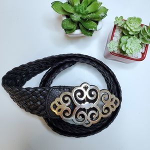 Brighton Black Leather Braided Belt